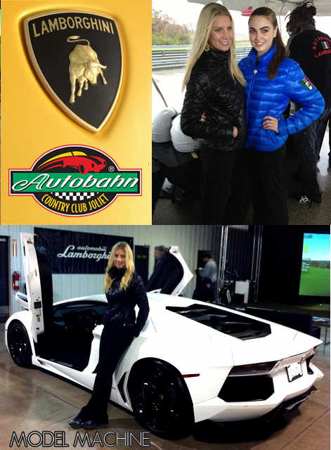 Promotional Models working at the Lamborghini Driving Experience in Chicago at Autobahn Country Club